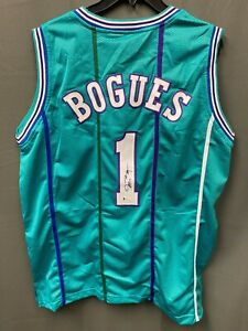 Muggsy Bogues #1 Signed Hornets Basketball Jersey AUTO BAS WITNESSED COA Sz XL