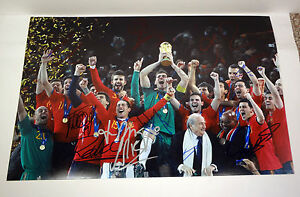 Spain 2010 World Cup Champions Signed Autograph 12x18 Photo 12 Signatures COA