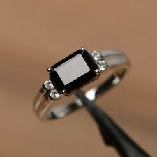 4Ct Emerald Cut Black Onyx Simulnt Diamond Engagement Ring White Gold Fns Silver
