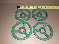 """Lot of 4) Kitz 3.5"""" Gate Valve Hand Wheel Ball Gate Valve Green  Handle 411K 90"""