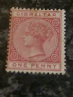 GIBRALTAR POSTAGE STAMP SG9 ONE PENNY ROSE LIGHTLY-MOUNTED MINT