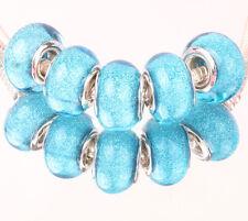 5pcs SILVER MURANO bead LAMMWORK fit EuroMean Charm Bracelet C#62