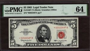 1963 $5 Red Seal US Note, STAR, PMG 64(under graded)