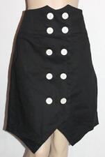 Caroline Morgan Brand Black Double White Button Front Skirt Size L BNWT #sr29
