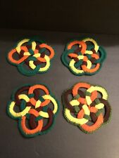 New listing 4 Vintage Fall Inspired Crochet Hot Pads Trivets