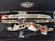 "Hoyt Satori Recurve Bow 17"" Buckskin Riser RH 55# Medium Sub Alpine Limbs 60"" a1"