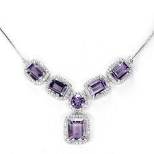 Sterling Silver 925 Genuine Natural Amethyst Drop Necklace 17 to 19.5 Inches