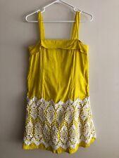 Anthropologie Floreat Dress Yellow White Embroidered Crochet Skirt Womens Sz 4