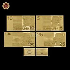 WR Rare Netherlands 5 10 25 100 Gulden 24K Gold Foil Banknote Set 1966-73 /w COA