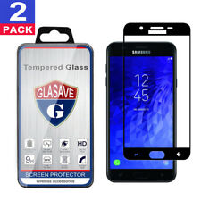 2-Pack GLASAVE Samsung Galaxy J3 2018 FULL COVER Tempered Glass Screen Protector