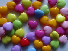 50 Acrylic Puffy Heart Jewellery/Craft Beads Assorted Colours 15mm