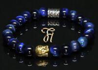 Tigerauge blau glänzend Armband Bracelet Perlenarmband Buddhakopf gold 8mm