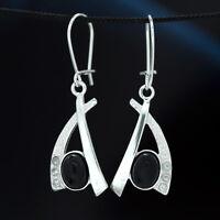 Onyx Silber 925 Ohrringe Damen Schmuck Sterlingsilber H310