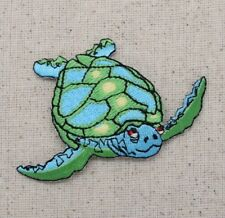 Large Sea Turtle - Facing Right Blue/Green - Iron on Applique/Embroidered Patch