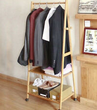 Portable Multi Function Bamboo Double Shelf Rail Clothes Hanger Storage Rack