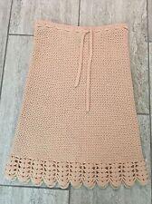 DKNY 100% Lambswool Crochet Blush Pink Skirt Tie Waist Size Small