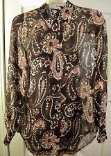 4e6702c13d1f1a ANNE KLEIN II Sheer Silk Chiffon LS Paisley Shirt Brown-Beige-Mauve NEW Size