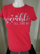 WOMAN'S RED T-SHIRT SPARKLE ALL THE WAY SIZE MEDIUM
