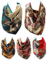 Vibrant Paisley Print Silk Satin Bandana Square Neck Scarf Head Scarves