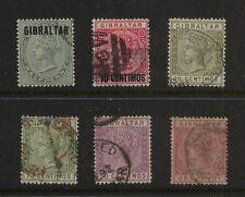 Gibraltar    nice  lot of  Victoria  stamps               KL0222