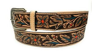 "FLORAL EMBOSSED 1 3/4"" WIDE WESTERN COWBOY RODEO BELT  GENUINE LEATHER BELT"