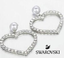 Heart Earrings with Pearl ❤️ Swarovski Cubic Zirconia Crystal 18K Rhodium-Plated