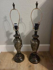 Pair Of Marble Looking Lamps No Shade