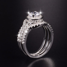 3ct Round Cut Diamond Engagement Ring 14k WhiteGold Over Halo Solitaire Trio Set