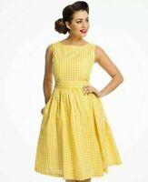 LINDY BOP Audrey Sunny Gingham Sleeveless Swing Dress Yellow Vintage Retro BNWT