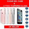 CLEAR TPU GEL CASE TEMPERED GLASS PROTECTOR FOR APPLE IPHONE 5 5S SE 6 6S 6 Plus