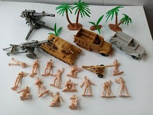 Vintage Marx Desert Fox Tank-Half Tracks Howitzer GI Soldiers Trees Parts Lot