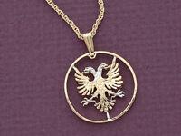 "Albanian Eagle Pendant , Hand Cut Albanian Five Lek Coin, 1"" in Dia. ( # 940 )"
