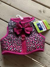 Xs Top Paw Cheetah Vest Dog Harness Pink Black Bow