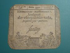 1793 (Year 2) 50 Sols FRANCE Domaines Nationaux Assignat Signed Faussay