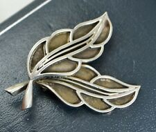 1954 Scandinavian SOLID SILVER Modernist Double LEAF BROOCH By G Kaplan, Sweden