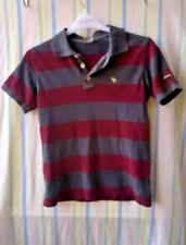 Boys T-shirt Abercrombie and Fitch Burgundy Grey Striped Size Large Prem Casual