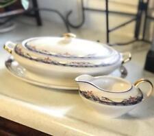 Vintage Penn China Set Lot Platter Soup Tureen And Creamer Marked 18K Gold J7935