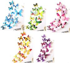 12 x 3d adhesive butterfly wall stickers 12pcs/lot pink purple yellow green blue