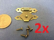 2x Hinge 20 x 30 small mini doll house Antique latch hook Carved wood box c12