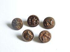 5 boutons de vénerie / chasse, chien cerf lièvre canard cheval