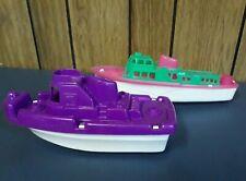 2 Vintage Plastic Motor Boat Processed Plastic Harbor Patrol Pink Purple