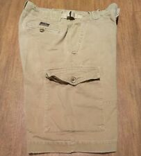 Abercrombie & Fitch Cargo Shorts Khaki Brown Textured Button Fly Side Cinch 32