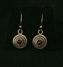 Trendy Vintage Sterling Silver Red Stone Dangle Earring Set. Make Offer #1412