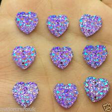24pcs Purple AB 12mm Flat Back Heart Sew-On Resin Rhinestones Buttons Gems