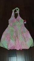 NWT Kate Mack Biscotti Halter Dress w/Bubble Hem, Size 8