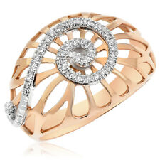 Right Hand Cocktail Mesh Bypass Ring 14K Rose Gold Pave Cluster Diamond