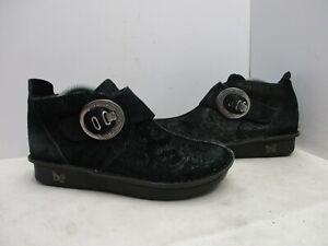Alegria Black Suede Leather Buckle Ankle Boots Shoes Womens Sz 38 EUR  Cat-931
