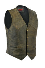 MEN DISTRESSED LEATHER BIKER STYLE MOTORCYCLE WAISTCOAT NEW BROWN PLAIN VEST