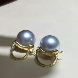 Fashion AAA+ 9-10mm real natural South sea gray round pearl earrings 18k gold
