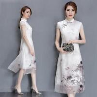 Chinese Women's Cheongsam Evening Party Dress Retro Print Elegant Silk QiPao New